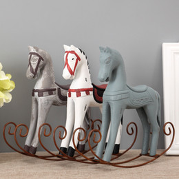 nordic style wooden horse craft furnishing articles home decoration creative figurines auspicious gifts home decor - Home Decor Articles