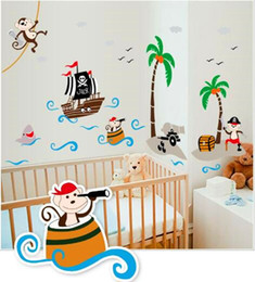 Hot Cartoon Coconut Tree Corsair Monkey Baby Bathroom Bedroom Stickerhome Decor For Kids Rooms Living Room Wall Stickers Pvc