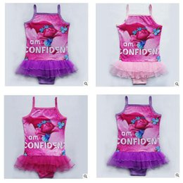 Discount birthday gifts for girls Trolls One Pieces Girls Swimwear Net yarn Swimsuit Kids Ruffled Swimming Suit For Girl Children Bathing Suit Birthday Gifts