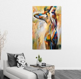 Discount figure art sexy girl Body Art Portrait Painting Sexy Girl Nude Figure Oil Painting Home Decor Wall Art Canvas Painting For Living Room Wall Decor