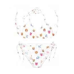 online shopping 2017 new d print classic white emoji beach wear sexy bikini womens brand swimsuit triangl swim wear string swimsuits Three point bikinis
