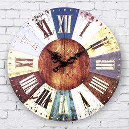 Wholesale Wholesale Vintage Home Decor Large Wall Clock Roman Numerals Frozen Living Room Decoration Wall Clock Gift Orologi Da Parete