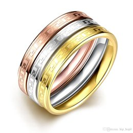 3 colors made ring set 18k rose white gold plated multilayer 316l stainless steel simple rings women men party jewelry beautiful brand rings discount - Simple Wedding Ring Sets
