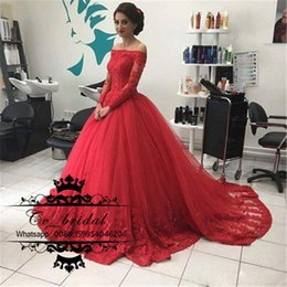 Wholesale 2017 robe de bal robe rouge Quinceanera Robes Bateau Off Shoulder Illusion manches longues Appliqué Tulle Debutante Robe Sweet Plus Size
