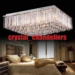 Minimalist Style Rectangle Crystal Flush Mount Ceiling Lamp Stainless Steel Led Luxury Ceiling Dome Light New Arrivel Fashion Wholesale Discount Kitchen