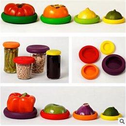 4pcs / set Assorted Alimentos Hugger Caps Silicone Alimentos Saver Frutas Vegetais Reutilizáveis Conservação Ferramenta Alimentos Recipientes De Armazenamento CCA5630 100set