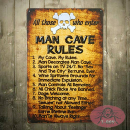 T Ray Shabby Chic Retro Man Cave Rules Tin Sign Metal Funny Novelty Wall Art Dorm Garage Home Decor 170314