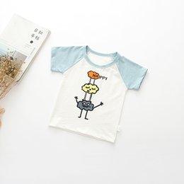 Симпатичные детские малыши мультфильма младенца Симпатичные тенниска Unisex Мальчики и девочки Повседневная одежда Animal Letter Print Лоскутные футболки