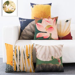 retro chinese style lotus leaf dragonfly yellow blue green cotton linen decorative throw pillow case home decor chair cushion cover for sofa - Chair Cushion Covers