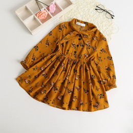 online shopping Children dress spring new grils lace up bows floral dress kids ruffle long sleeve chiffon dress children clothing A0396