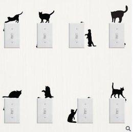 Creative Panda gato interruptor de la etiqueta de la pared de moda pegatinas de la pared pegatinas de vinilo Decalques de la casa de dibujos animados mural resistente al agua puede quitar