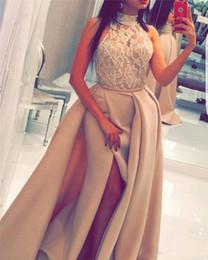 Discount yousef aljasmi Yousef Aljasmi Mermaid Long Prom Dresses Halter See Through Lace Beads High Slilts arabic dubai overskirts Evening Formal Gowns 2017