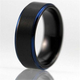 yizhan free shipping customs engraving ring hot sales 8mm black matte center blue steps comfort fit design mens tungsten wedding ring