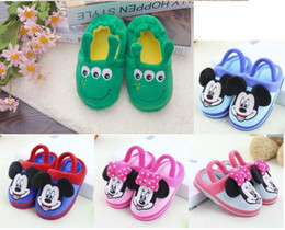 online shopping Baby Shoes Boys Girl Mickey Shoes Cartoon Pattern First Walkers Winter Plush Slipper pair l