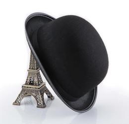 Black satin Felt hat magician gentleman adult 20 S costume tuxedo Round cap  Halloween XMAS party Fancy Dress Up Top Hats f3b86bbd1286