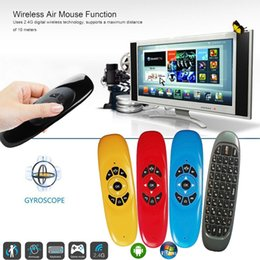 Discount android tv box free shipping Mini Wireless C120 Air Mouse Keyboard Wireless Remote Control For TV BOX Android M8S X96 Black Wireless Air Fly Mouse Free DHL Shipping