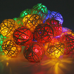 Discount Used Wedding Decorations Sale Wholesale Hot Sale 20 LED Warm White  Rattan Ball String