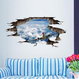 Discount Home Decor Interior Design Sky Airplane 3d Wall Sticker Creative Floor Stickers Diy Interior Design