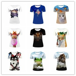 Wholesale Fashion Cheap Womens Summer Casual Tees Universe Cute Cat and Fishes Funny Giraffe Tiger Fox Wolf Aquarelle T shirt imprimé