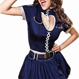 Oro Manos Sexy Señora Ropa Policewomen Uniforme Cosplay Vestido Adulto Cop Disfraz Con sombrero y falda y cinturón establece para las mujeres Envío gratis