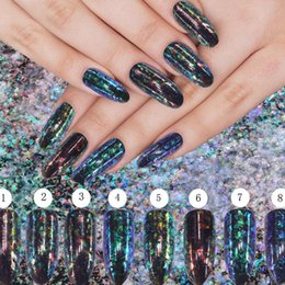Wholesale Nuevo Nail Art Glitters Transparente Chameleon Pigmento Flakes Sequins Magic Powder Shimmer Dust Galaxy Decoraciones Manicura