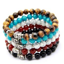 Vente en gros 10 pcs / Lot Hommes Perles Bouddha Bracelet, Turquoise, Black Onyx, Red Dragon Veines Agate, Tiger Eye Semi précieux pierre Jewerly