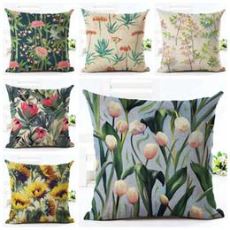 Bird Floral Cushion Cover Bamboo Home Office Decor Tulip Sofa Throw Pillow Case Sunflower Almofada Linen Fabric Cojines Square