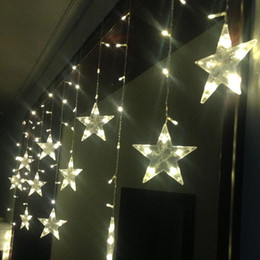 Wholesale-3M LED Christmas Lights Outdoor Window Curtain Lighting Indoor  Fairy Lights Wedding Decoration Garland 220V EU 12 Stars Flasher