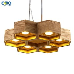 Discount Modern House Bars Modern Wooden Honeycomb Shop Pendant Lamp Foyer  Dining Room Bar Coffee House
