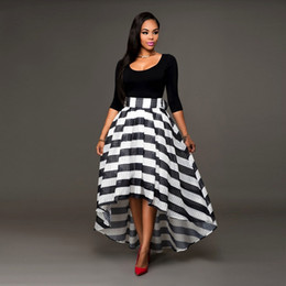 Discount Black And White Striped Skirt   2017 Black And White ...