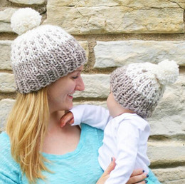 Discount baby adult cap hat New Baby Mum Ball Wool Beanie Winter Knitted Hats Warm Knitted Beanie Knit Hedging Skull Caps Hand Crochet Caps Hats