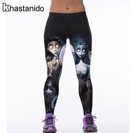 Discount workouts for body Wholesale- Corpse Bride 3D Printed Leggings Womens Sexy leggins Body building Workout Clothes For Women Punk Rock Fitness Pants Ropa Mujer