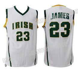Высшая школа Леброн Джеймс Джерси # 23 Мужская Irish Throwback Джерси, 100% прошитой Джерси, свободная перевозка груза