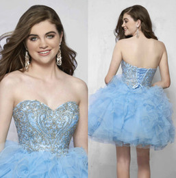 Wholesale Blue Beaded Short Quinceanera Vestidos Backless Applique Vestido De Boda Sweet Sixteen Vestido De Organza Primera Señora Gowns