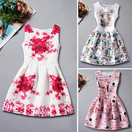 Wholesale Verano Niñas Vestidos Retro Impresión Floral Vestidos Vestidos Princesa Princesa Vestido Vestido De Bola Una Línea De Falda Niños Vestido De Estilo Nuevo