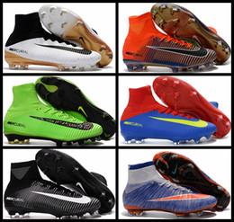 2017 Atacado Novo Mercurial Superfly V FG Men Botas de Futebol Qriginal Qualidade Mens Futebol Botas Calçados Soccer Shoes Sports Sneakers 39-45