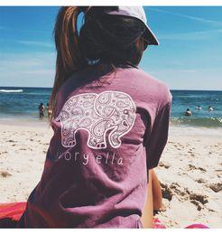 2017 wholesale shirts for summer New 2016 Summer Ivory Ella T-shirt Womens Clothing Tee Print Animal Elephant T Shirt Loose Long Sleeve Harajuku Tops For Women wholesale shirts for summer on sale
