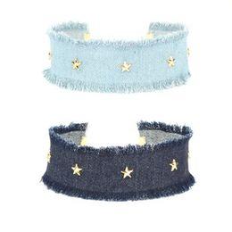 Wholesale Collar de los ahogadores de la ropa del dril de algodón para las mujeres set Collar del collar del estiramiento del collar del tatuaje del terciopelo del Grunge retro azul gótico retro
