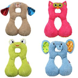 Discount car travel gifts Wholesale- soft car stroller travel pillow baby toys Headrest Cartoon Animal Neck Support Protection Pillow doll Plush stuffed kid gift