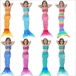 online shopping Girls Mermaid Swimwear Baby Mermaid Tail Bikini Set Kids Fish Tail Swimming Costume Cosplay Beachwear Swimwear Bathing Suit Set G65