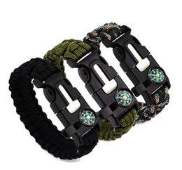 Bracelets de survie en plein air 5 en 1 Gear Kits Escape Paracord Bracelet Sifflet Sifflet Compas Grattoir pour Camping de randonnée Expédition rapide