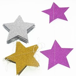 2m 8cm Five Pointed Star String Paper Garland Hanging Decoration Wedding Birthday Party Baby Shower Background Decorative Holiday Decor