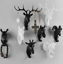 wholesale creative deer head animal decorative hook coat hook retro clothes hanging three dimensional porch key point bar 6pc set b685 - Decorative Coat Hooks