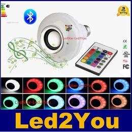 Música sin hilos de la lámpara de la luz de bulbo del altavoz del rgb Bluetooth de la energía E27 LED del envío 12W que juega la iluminación del RGB con teledirigido