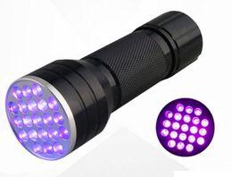 NUEVA luz ultravioleta negra 21 LED Linterna UV luz de la antorcha Mini aluminio portátil linterna UV MYY