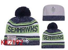 Discount wholesale knitted cashmere hat 2016 New winter Hot Seahawks Football Pom Seattle Beanies Football Beanies Brand Knit Beanie Hats Popular Warm Winter Caps Sports Team Hats