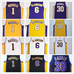 Alta Calidad 1 D'Angelo Russell Uniforme de Baloncesto 1 D Angelo Russell 6 Clarkson Jerseys 30 Julius Randle Negro Violeta Blanco Amarillo