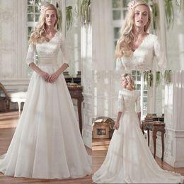 Wholesale Modest Lace mangas V cuello gasa princesa vestidos de novia elegante organza vendimia nupcial vestidos de novia musulmanes vestido de novia
