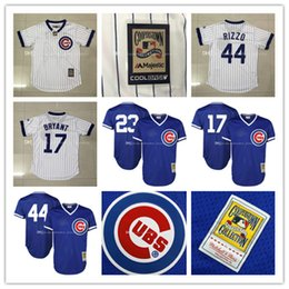 online shopping Men s Mitchell Ryne Sandberg Kris Bryant Anthony Rizzo Stitched Jerseys Chicago Cubs Throwback Replica Baseball Jersey