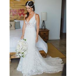 romantic lace boho wedding dresses designer 2017 deep v neck mermaid style bridal gowns handmade vestidos de novia